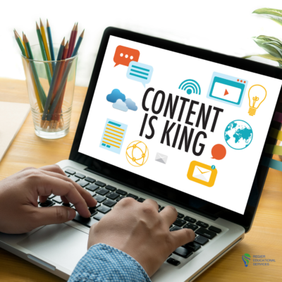 hands typing on laptop, words on screen 'Content is King'.