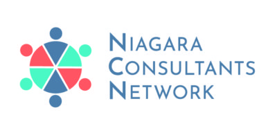 Niagara consultants network logo: with circles around a circle divided like a pie chart