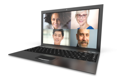 laptop with four faces, linked to course