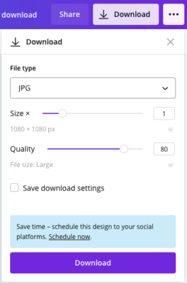 screenshot of Canva create a social media option from the download screen