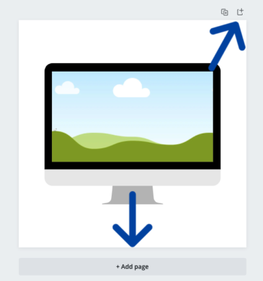 image of Canva page and where you can click to duplicate the page